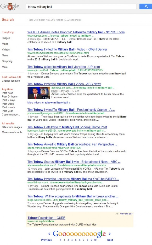 Tebow Date Google Results